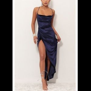 Velvet luxe maxi dress in royal blue size M